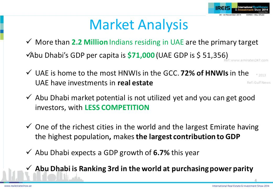 Market Analysis More than 2.2 Million Indians residing in UAE are the primary target. Abu Dhabi's GDP per capita is $71,000 (UAE GDP is $ 51,356)