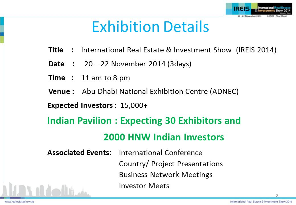 Exhibition Details Indian Pavilion : Expecting 30 Exhibitors and