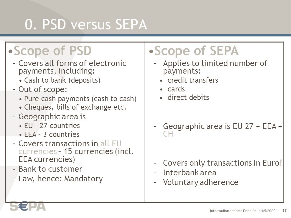 0. PSD versus SEPA Scope of PSD Scope of SEPA