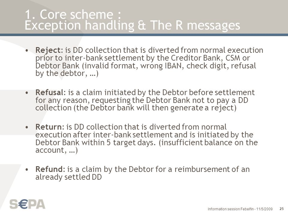 1. Core scheme : Exception handling & The R messages