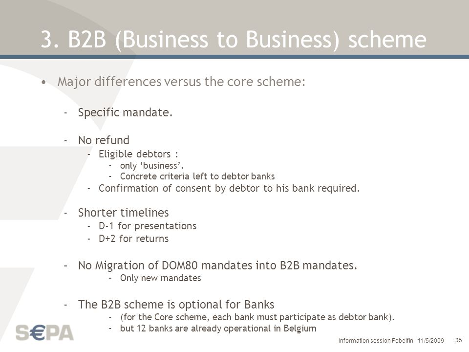 3. B2B (Business to Business) scheme