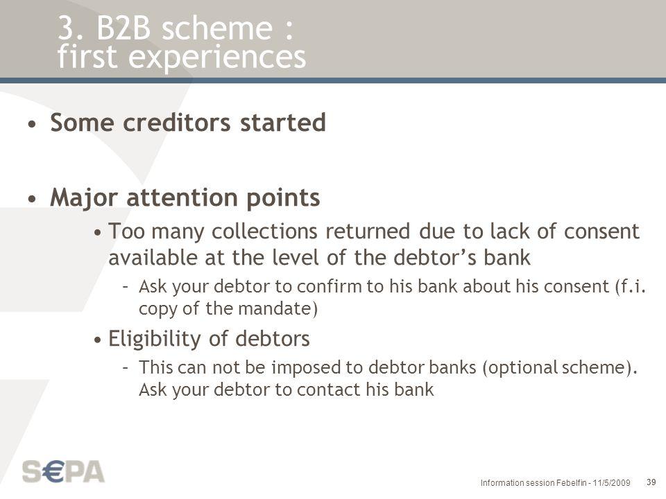 3. B2B scheme : first experiences