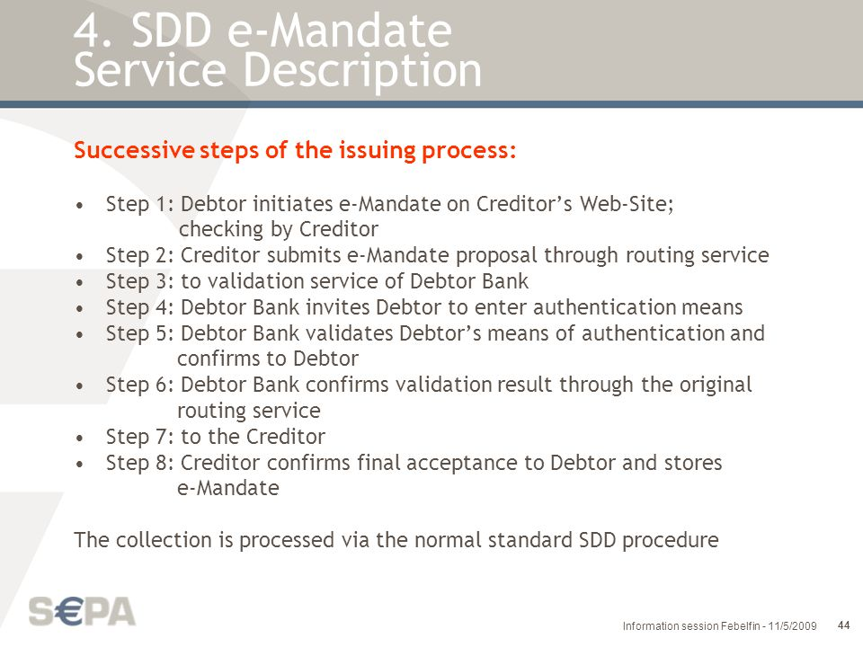 4. SDD e-Mandate Service Description