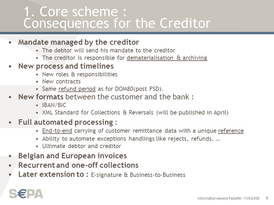 1. Core scheme : Consequences for the Creditor