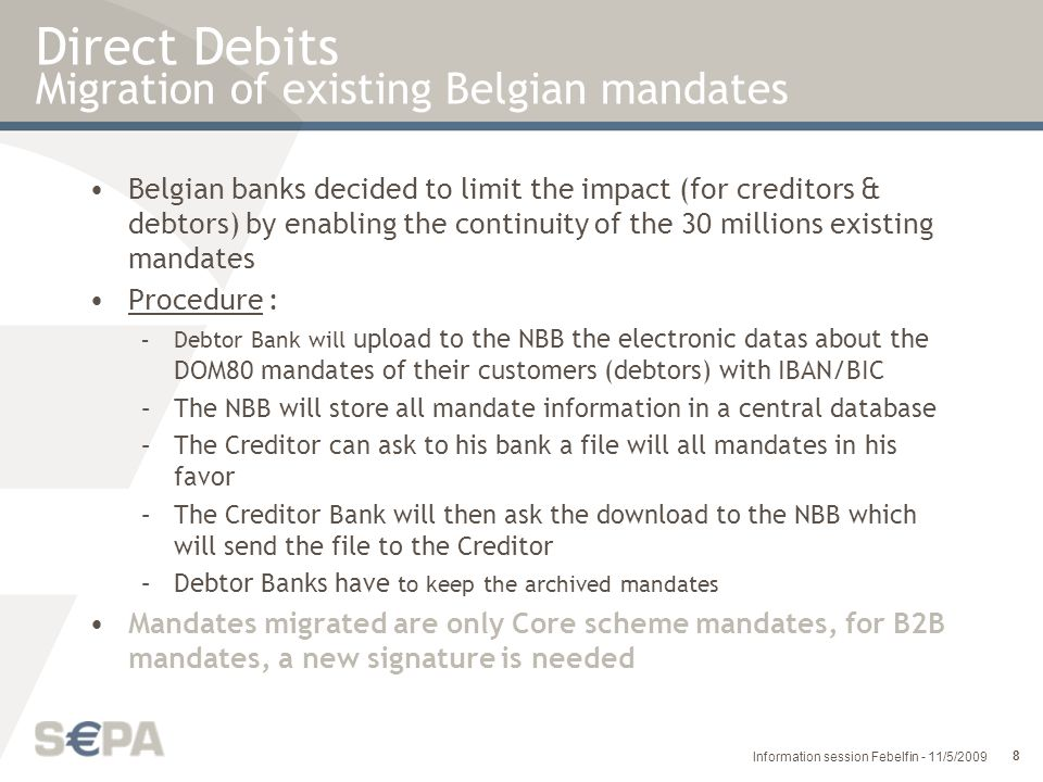 Direct Debits Migration of existing Belgian mandates