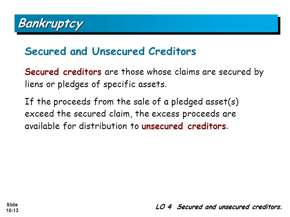 Bankruptcy Secured and Unsecured Creditors