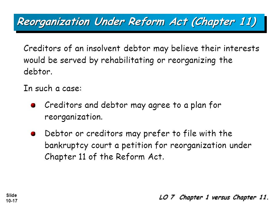 Reorganization Under Reform Act (Chapter 11)
