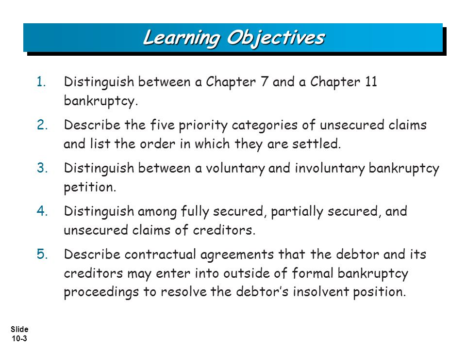 Learning Objectives Distinguish between a Chapter 7 and a Chapter 11 bankruptcy.