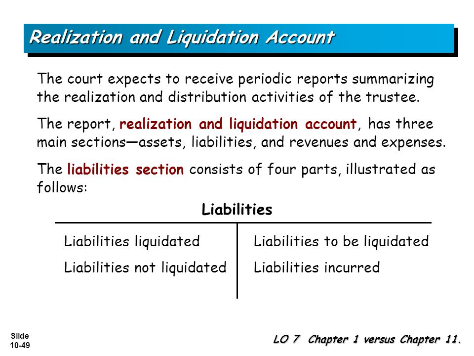 Realization and Liquidation Account