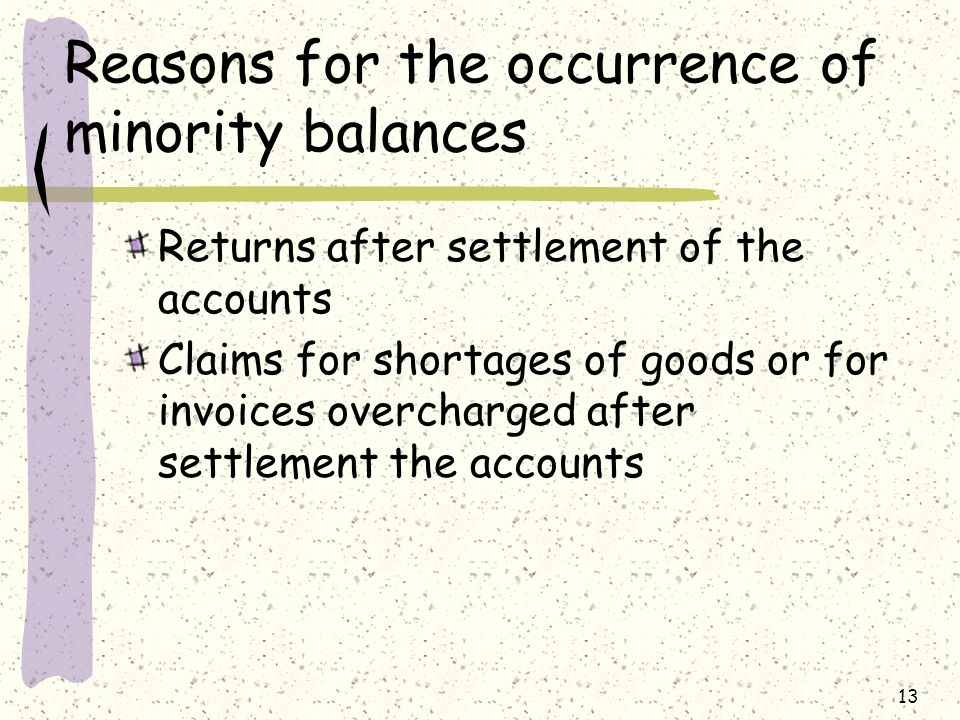 Reasons for the occurrence of minority balances