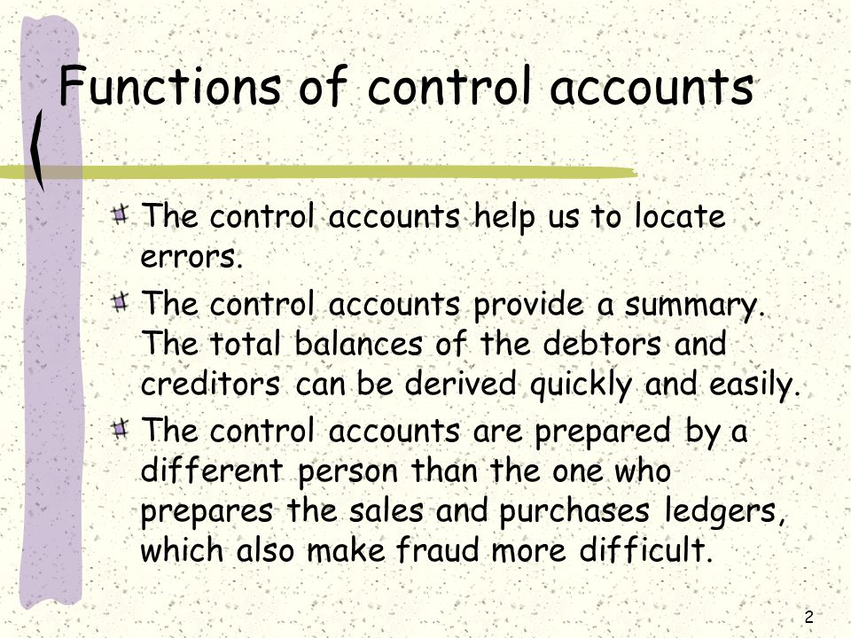 Functions of control accounts