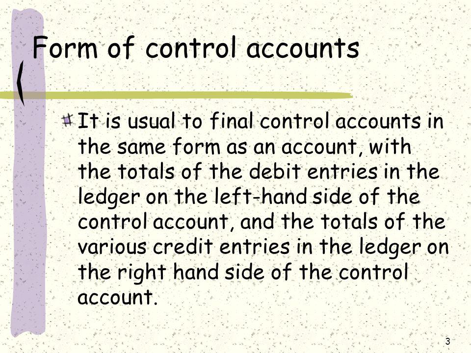 Form of control accounts