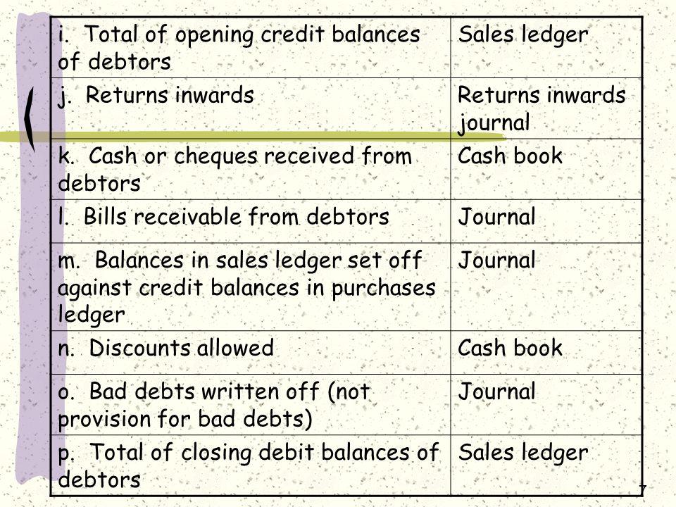i. Total of opening credit balances of debtors