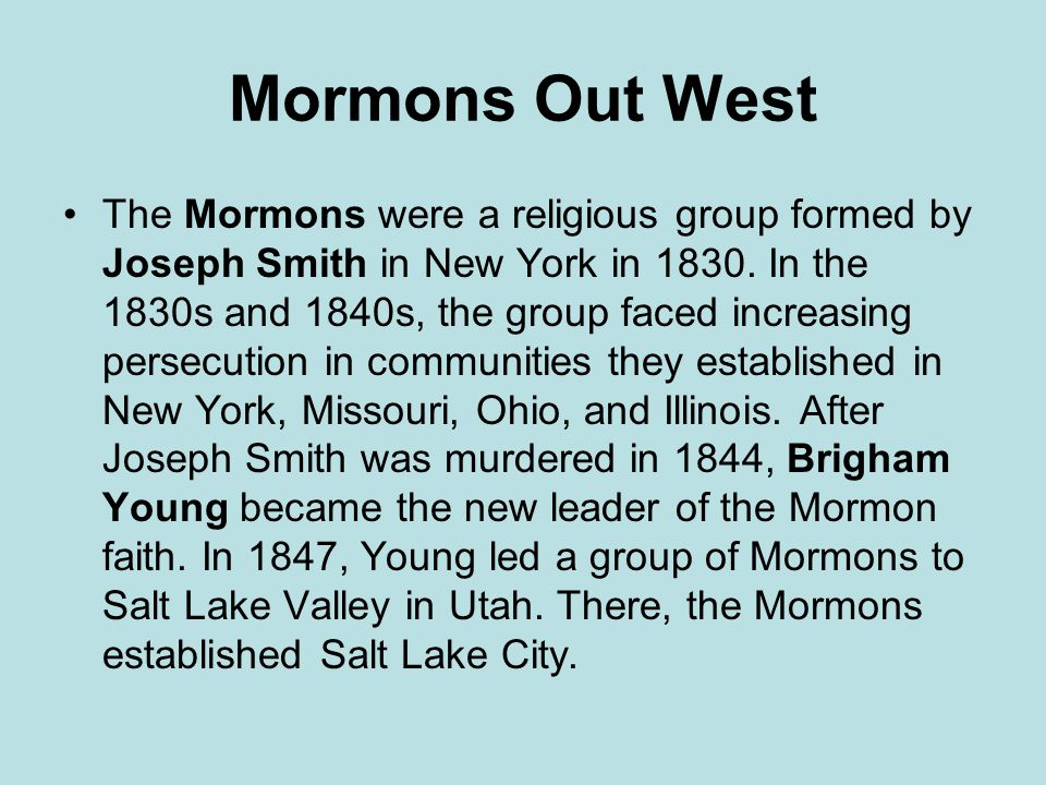 Mormons Out West
