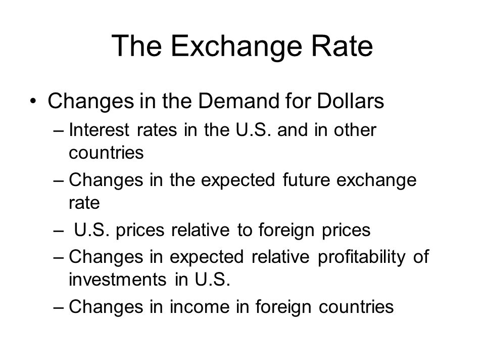 The Exchange Rate Changes in the Demand for Dollars