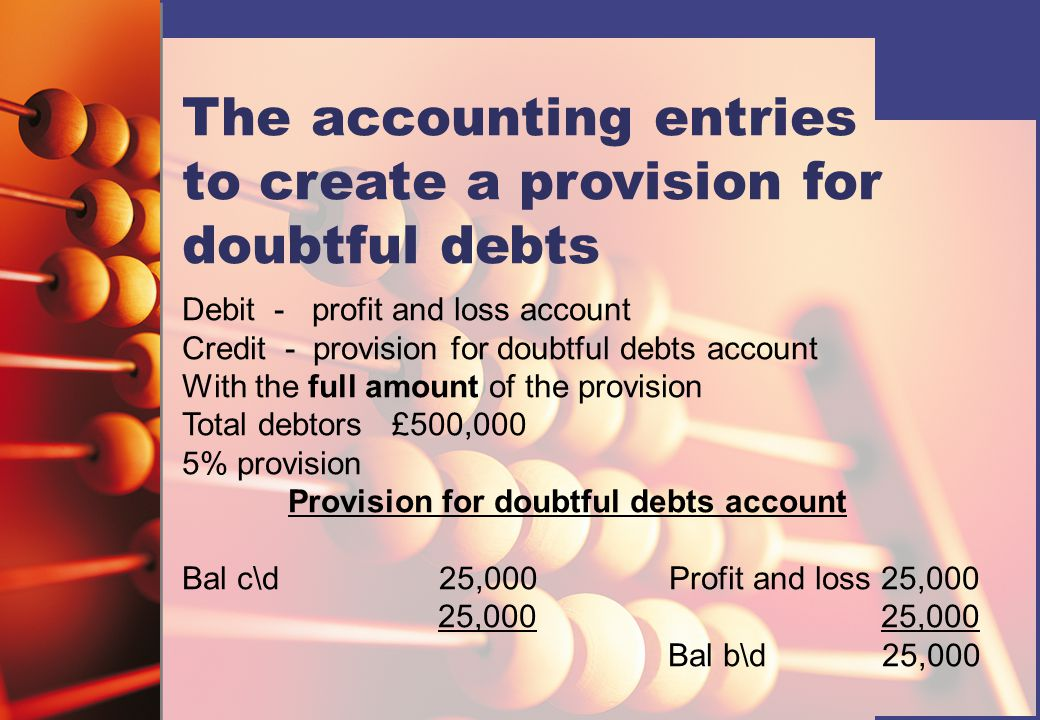 The accounting entries to create a provision for doubtful debts