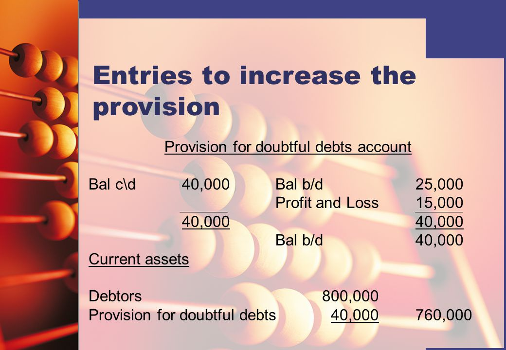 Provision for doubtful debts account