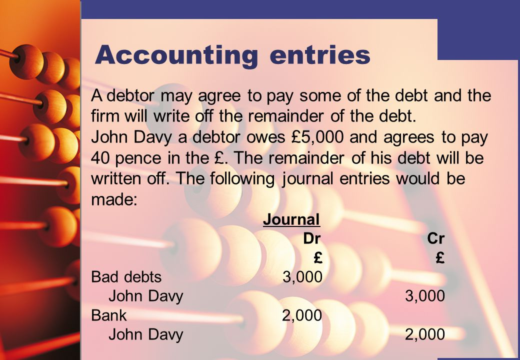 Accounting entries A debtor may agree to pay some of the debt and the firm will write off the remainder of the debt.