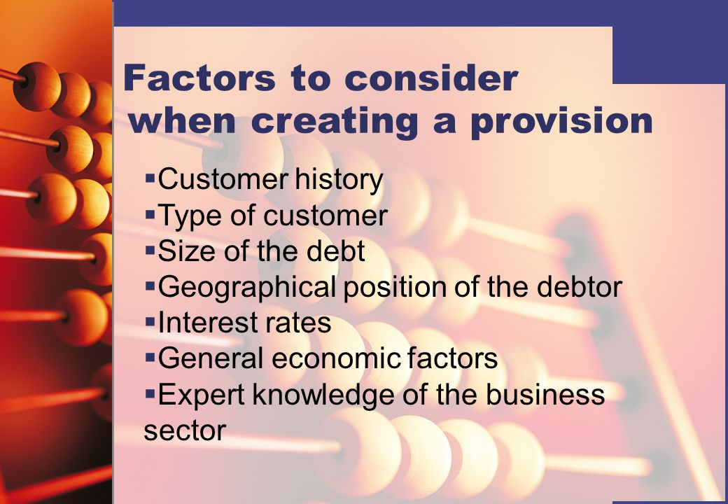 when creating a provision