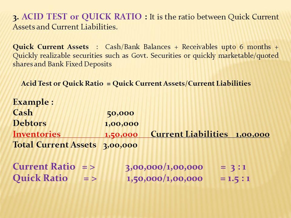 Current Ratio = > 3,00,000/1,00,000 = 3 : 1