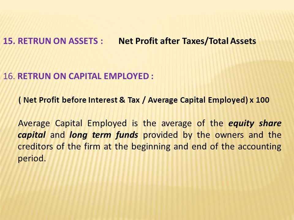 15. RETRUN ON ASSETS : Net Profit after Taxes/Total Assets