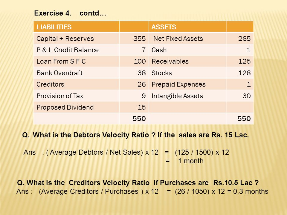 Exercise 4. contd… LIABILITIES. ASSETS. Capital + Reserves. 355. Net Fixed Assets. 265. P & L Credit Balance.