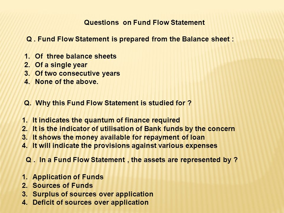 Questions on Fund Flow Statement