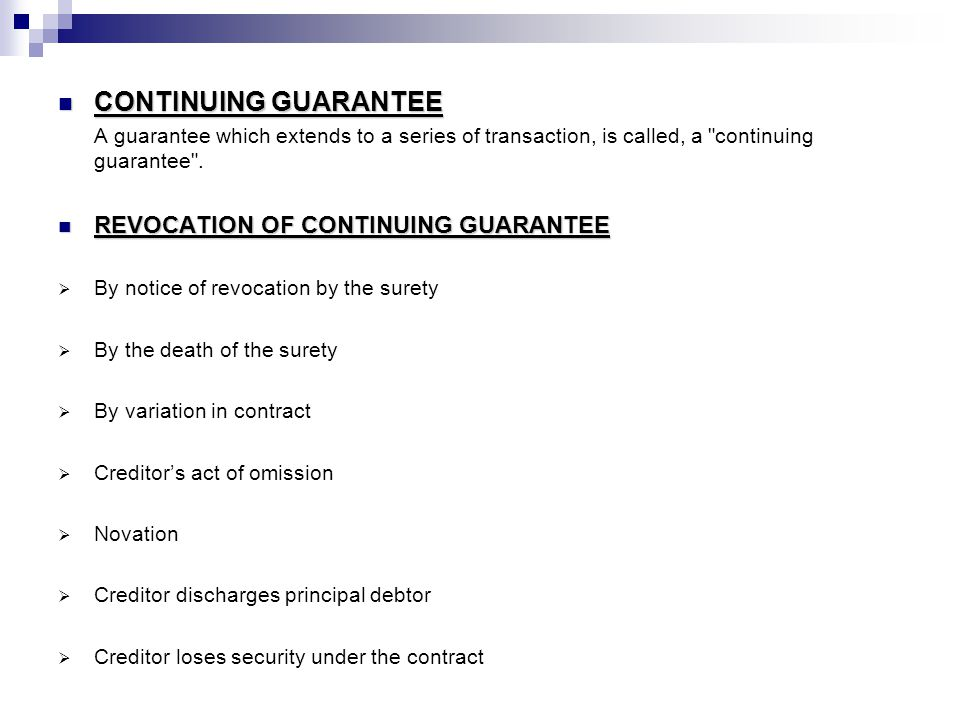 CONTINUING GUARANTEE REVOCATION OF CONTINUING GUARANTEE