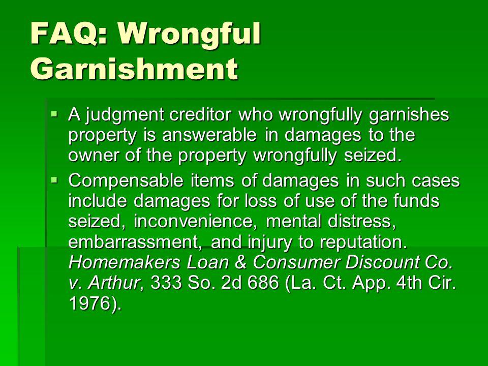 FAQ: Wrongful Garnishment