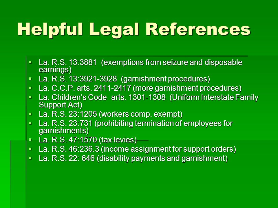Helpful Legal References