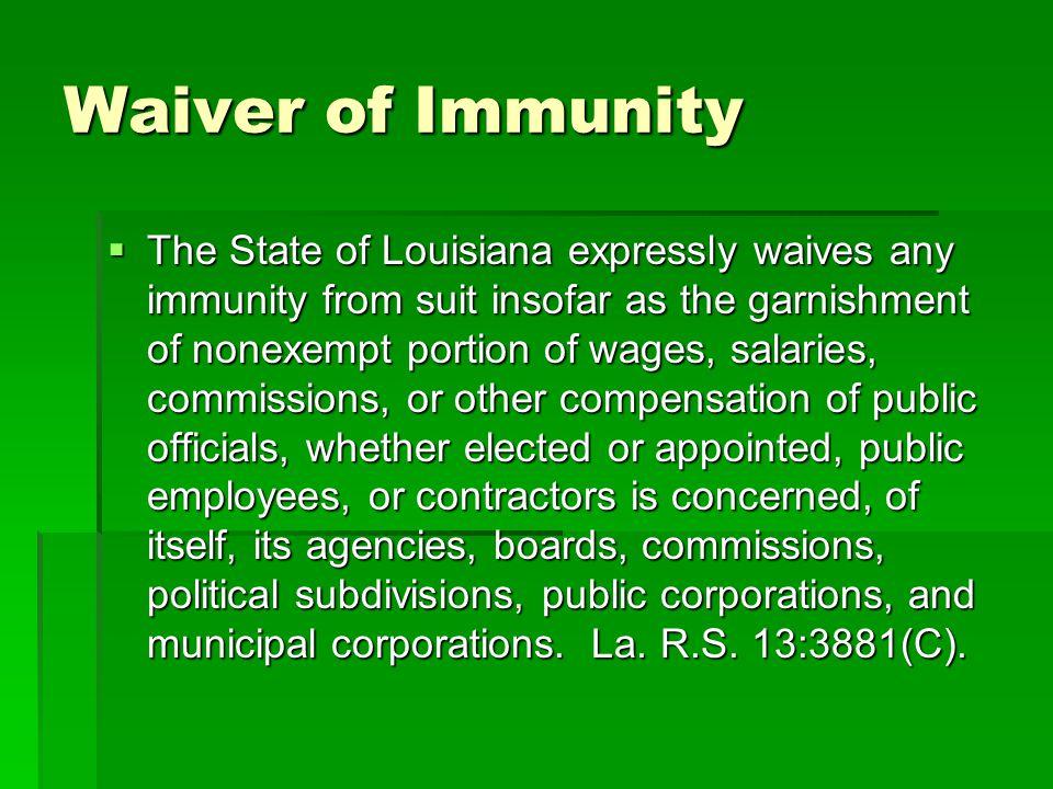 Waiver of Immunity