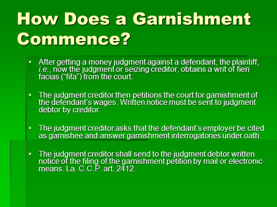 How Does a Garnishment Commence