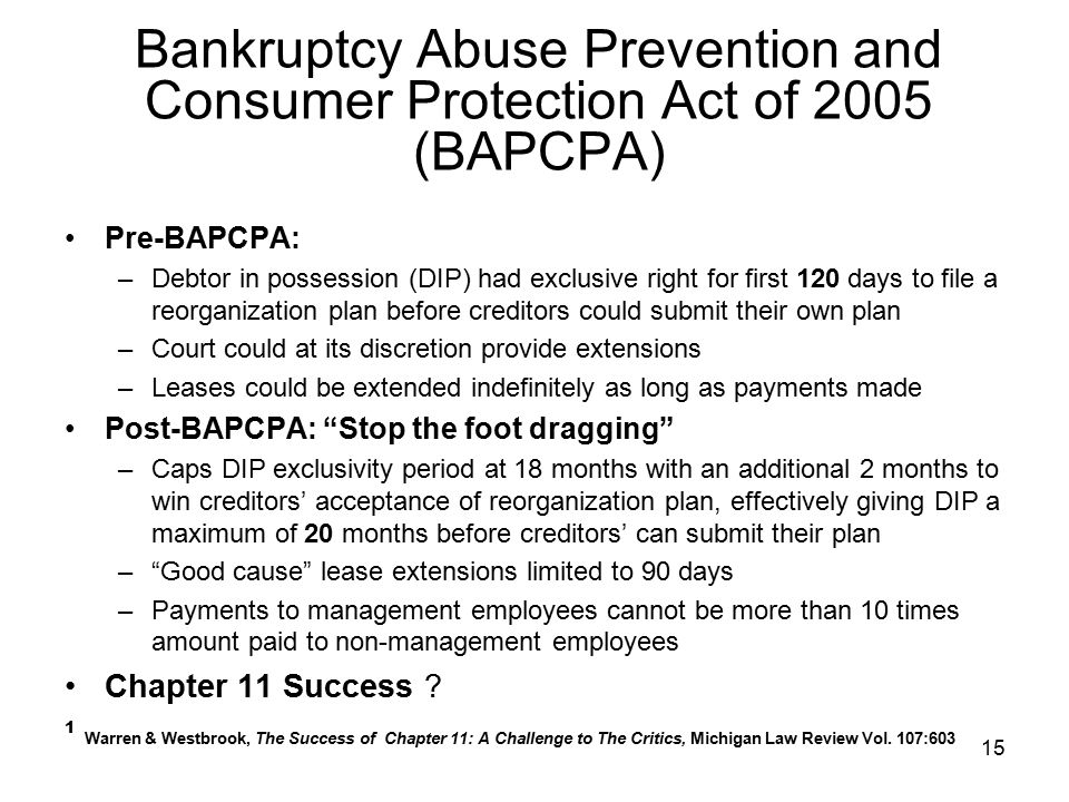 Bankruptcy Abuse Prevention and Consumer Protection Act of 2005 (BAPCPA)