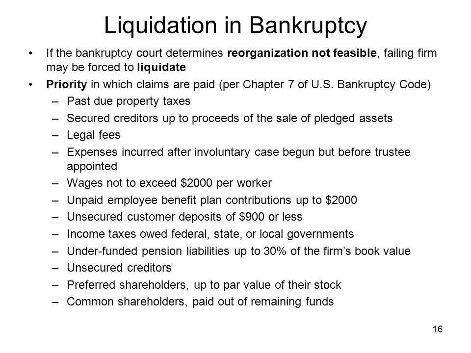 Liquidation in Bankruptcy