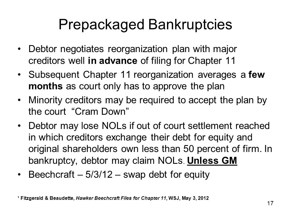 Prepackaged Bankruptcies