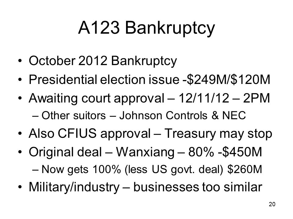 A123 Bankruptcy October 2012 Bankruptcy