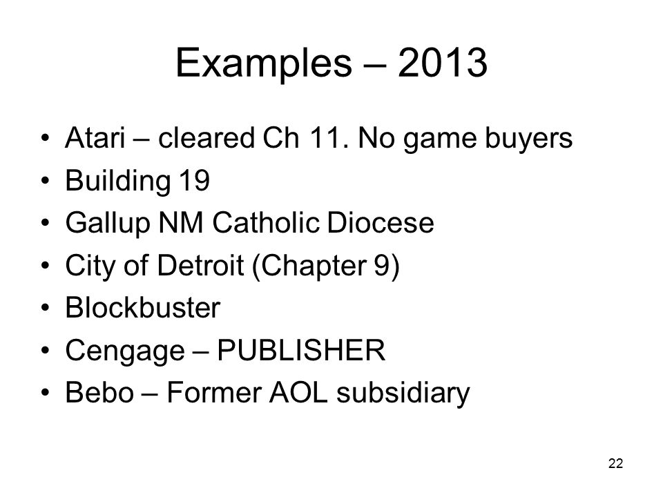 Examples – 2013 Atari – cleared Ch 11. No game buyers Building 19