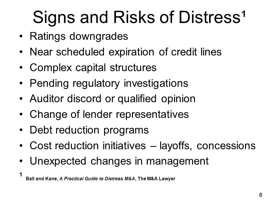 Signs and Risks of Distress¹