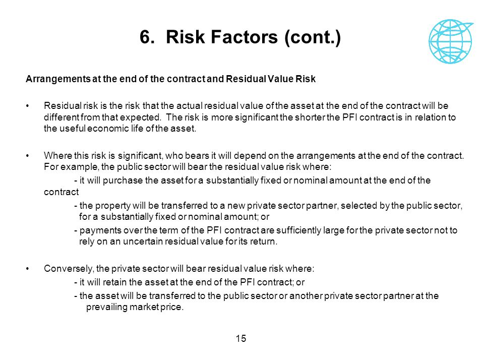 6. Risk Factors (cont.) Arrangements at the end of the contract and Residual Value Risk.