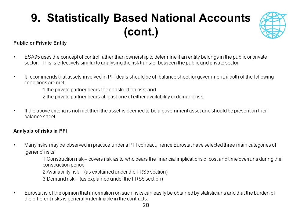 9. Statistically Based National Accounts (cont.)
