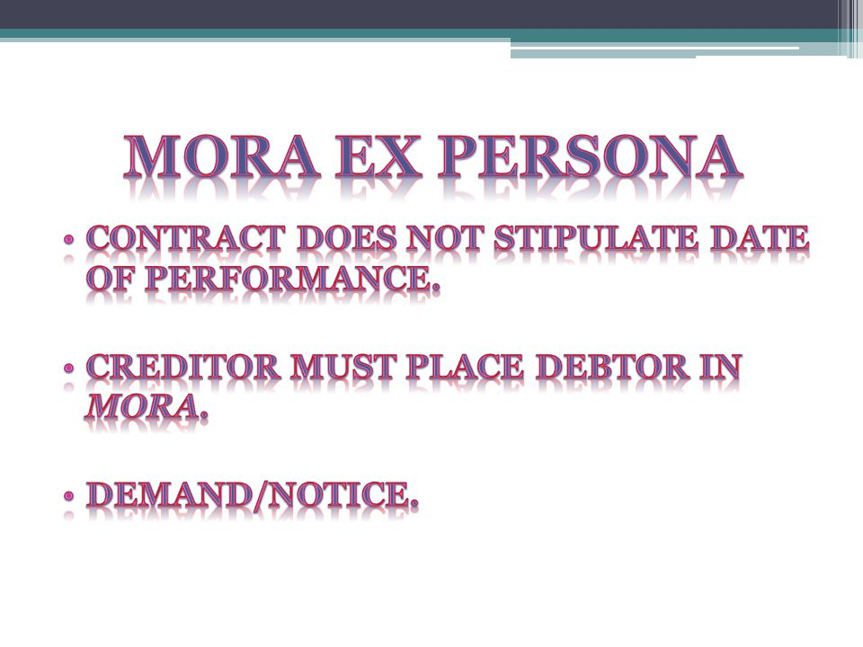 Mora ex persona Contract does not stipulate date of performance.