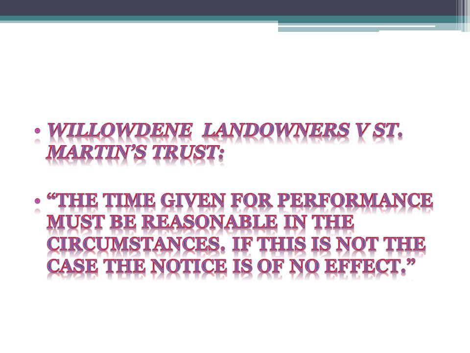 Willowdene landowners V ST. MARTIN'S TRUST: