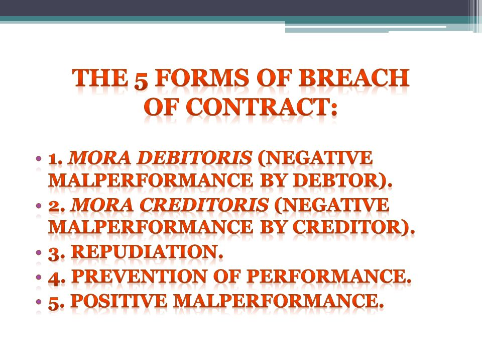 The 5 forms of breach of contract: