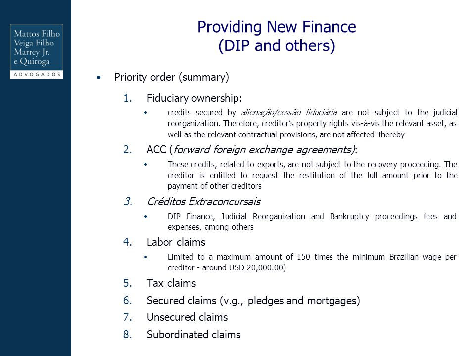 Providing New Finance (DIP and others)