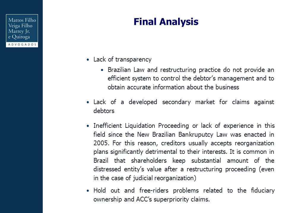 Final Analysis Lack of transparency