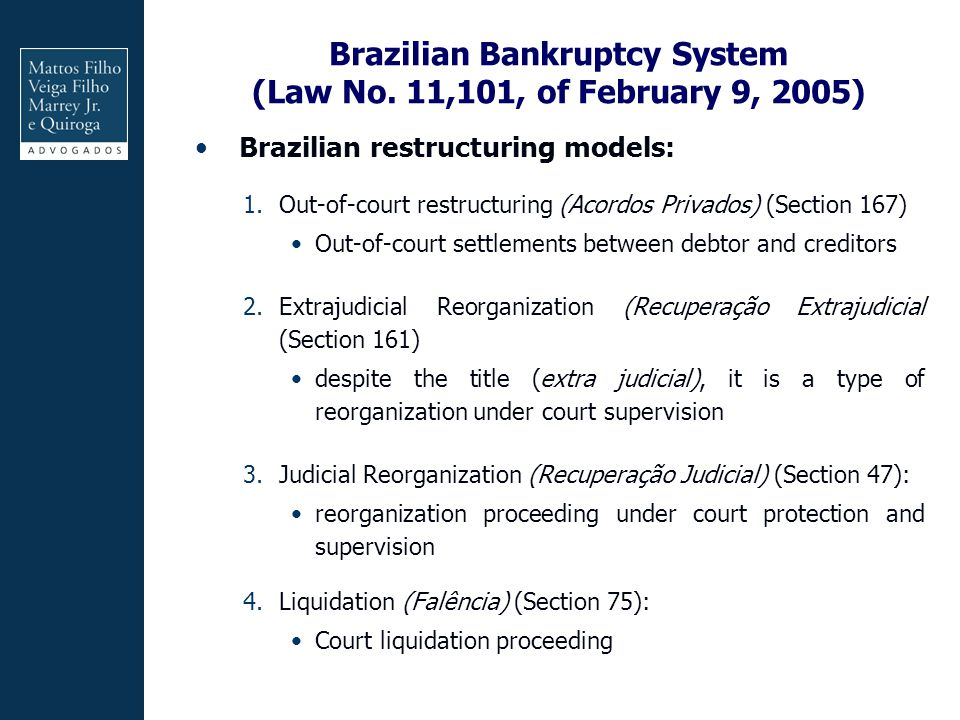 Brazilian Bankruptcy System (Law No. 11,101, of February 9, 2005)