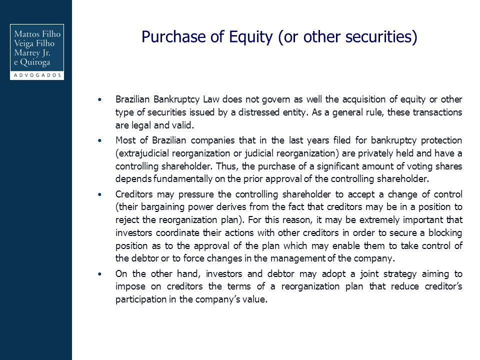 Purchase of Equity (or other securities)