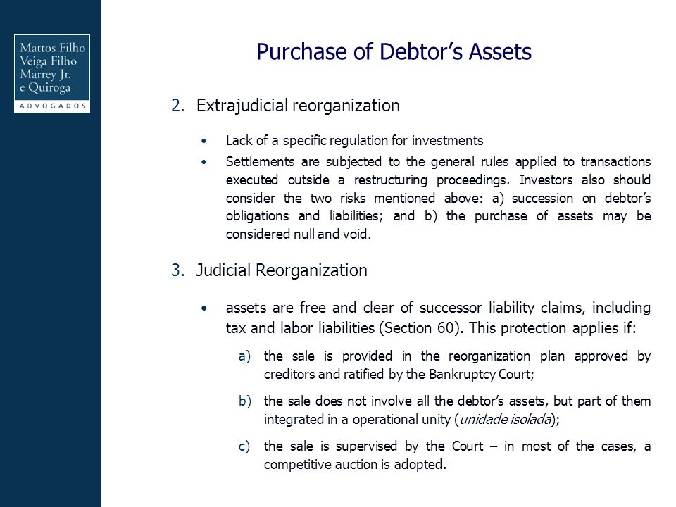 Purchase of Debtor's Assets