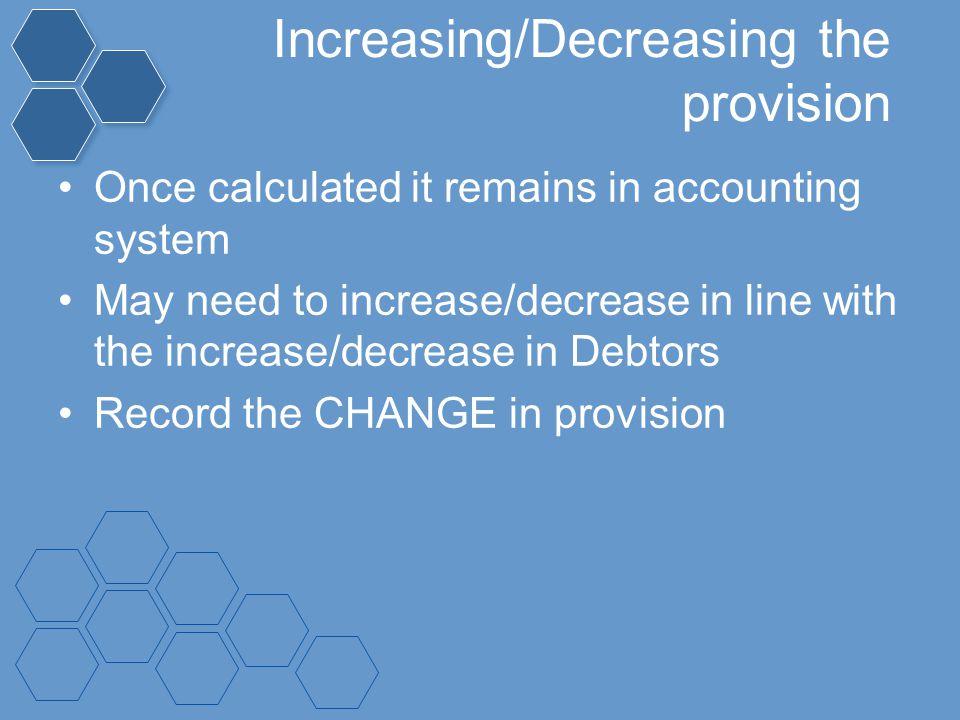 Increasing/Decreasing the provision