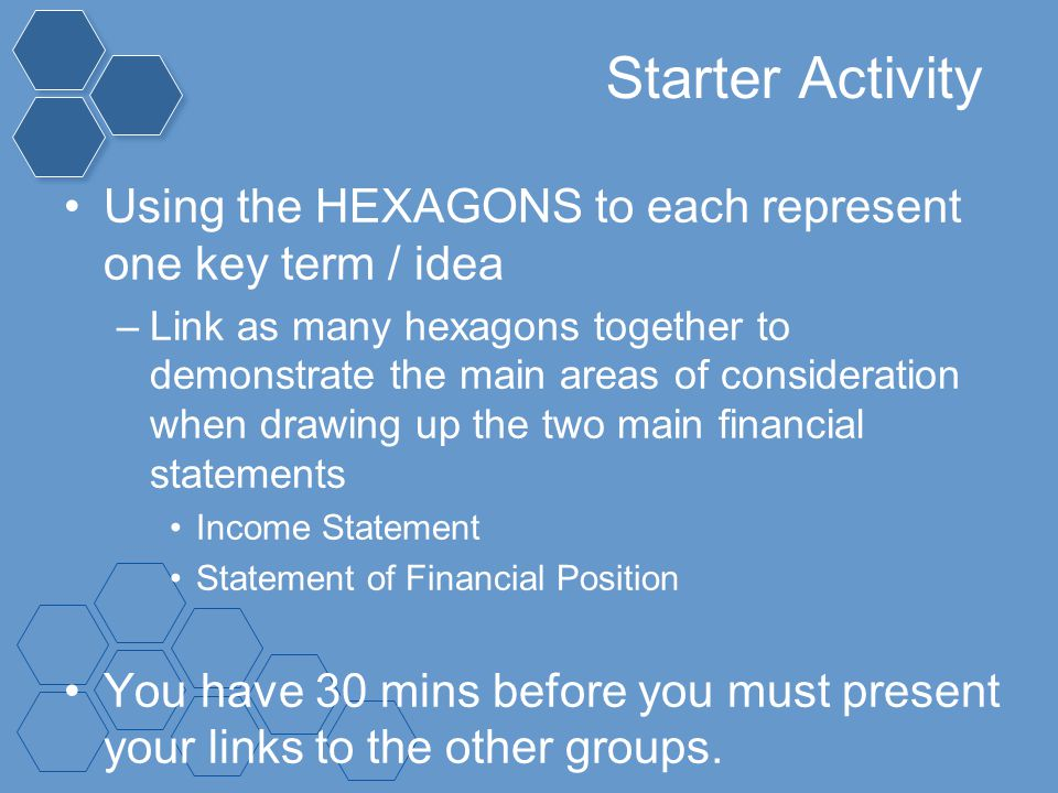 Starter Activity Using the HEXAGONS to each represent one key term / idea.